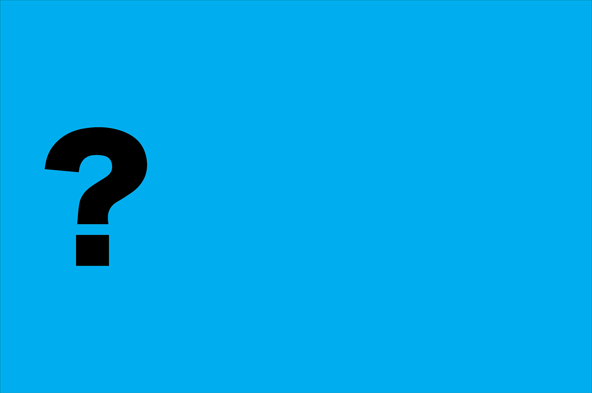 Banner, blue background with a large question mark.