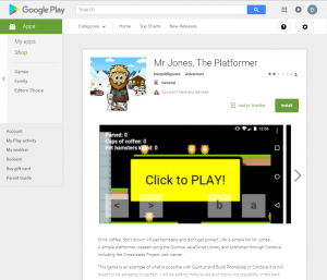 A screen capture of the Google Play store for the app